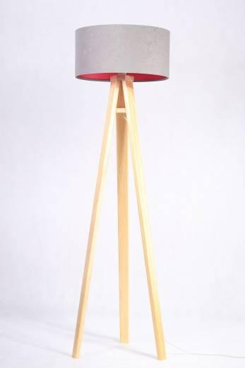Stehlampe Grau pink Holz 140cm Retro Wohnzimmer