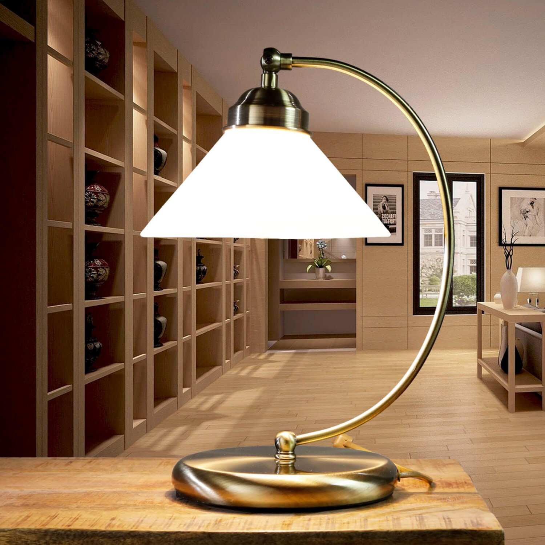 Gebogene Jugendstil Tischlampe Antik