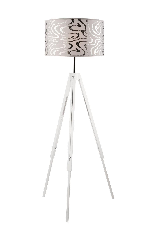 Stehlampe Wohnzimmer Weiß Stoff rund 130cm Leuchte