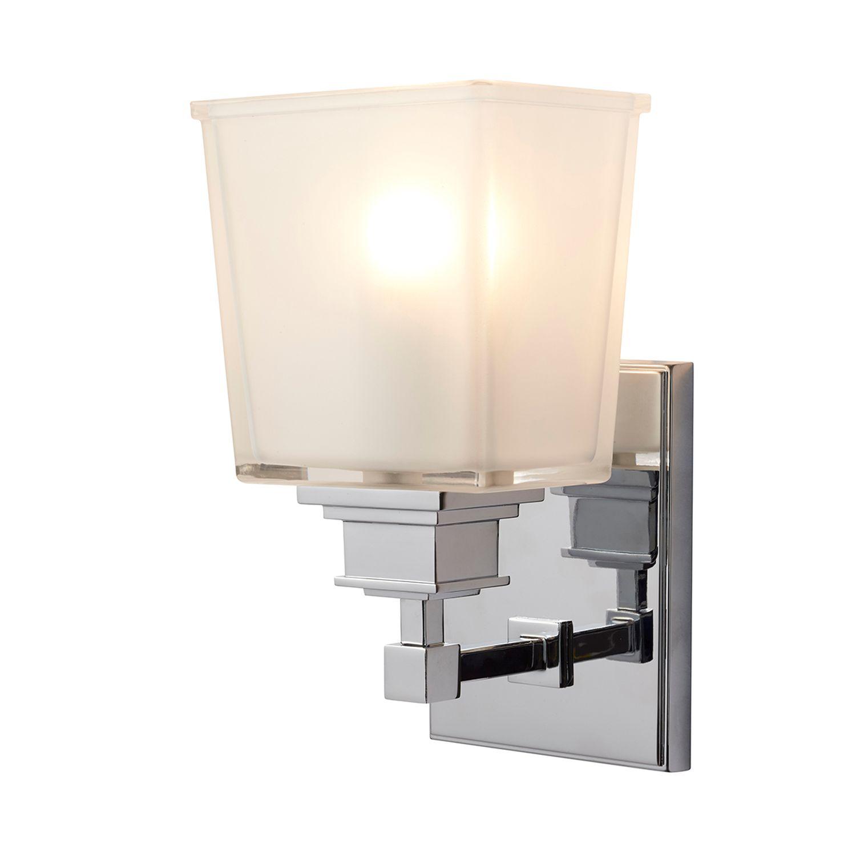 LED Badezimmer Lampe IP44 Chrom Weiß Glas Schirm