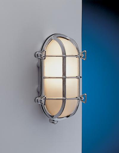 Chrom Wandlampe LED aus Messing IP54 Maritim außen