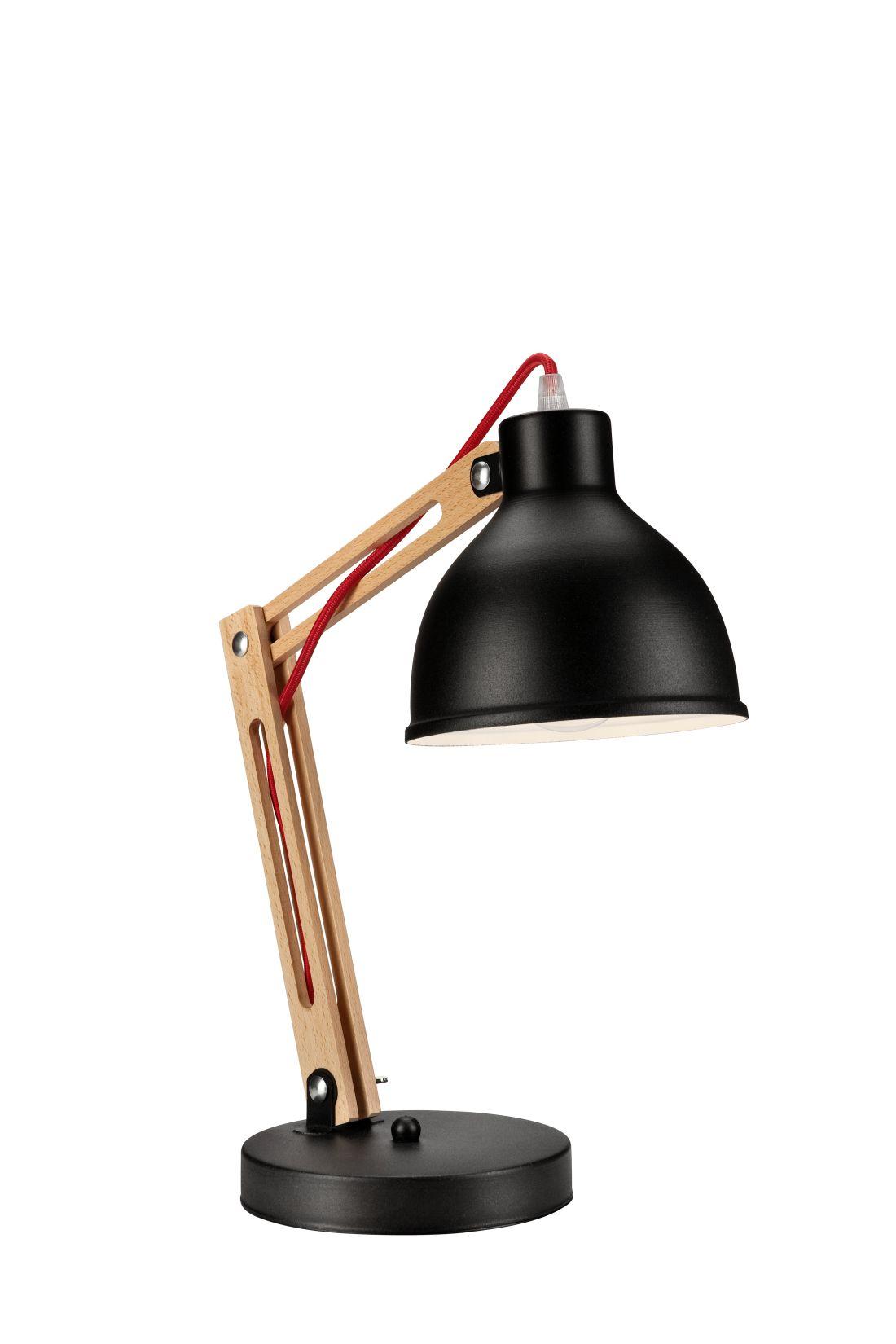 Schreibtischlampe Metall Holz Schwarz 44cm Modern