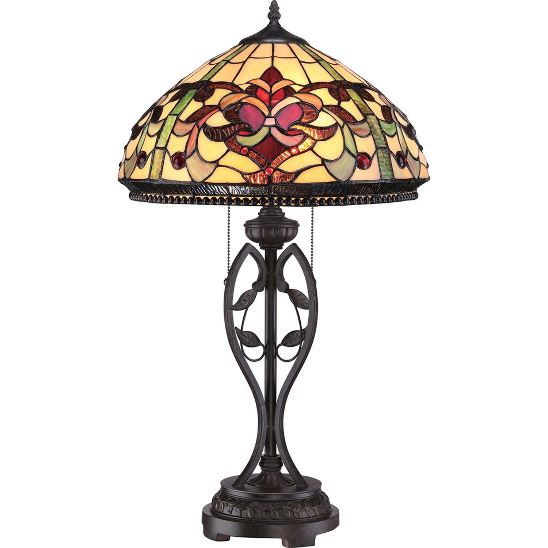 Tischlampe FARFALLA 7 Bronze H:68cm Tiffany Lampe