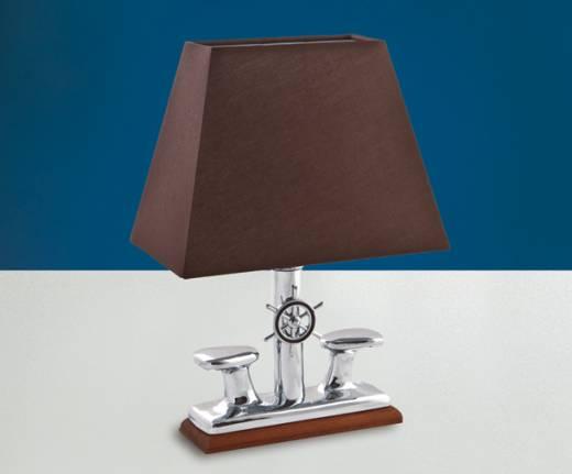Massive Tischlampe Chrom Braun aus Messing Maritim