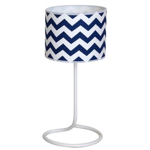 Tischleuchte Weiß Blau 48cm wohnlich Retro Lampe