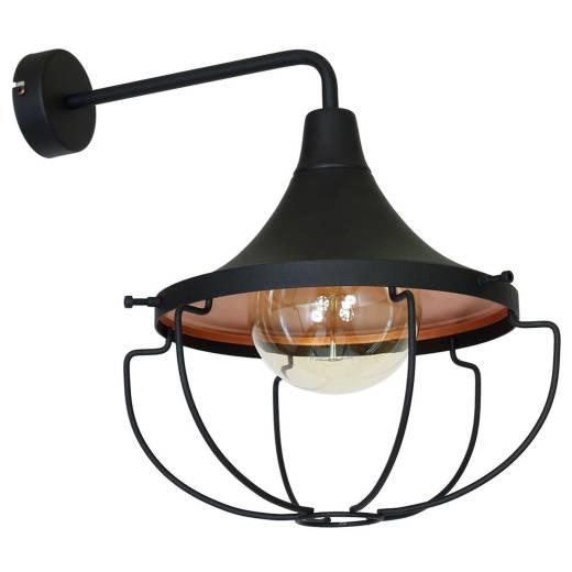 Wandlampe Schwarz Kupfer DANTON Leuchte Industrie