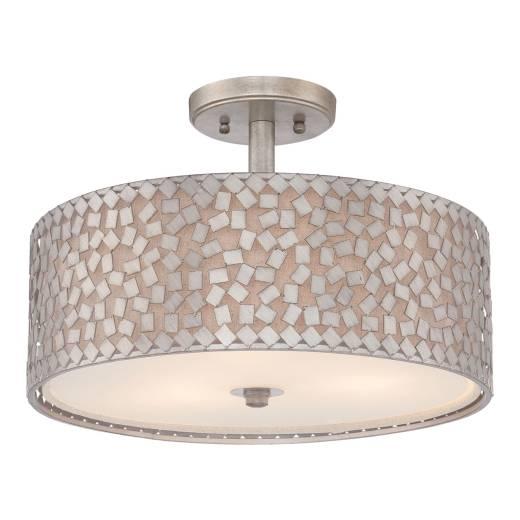Deckenleuchte Design in Silber rund Vintage Wohnzimmer