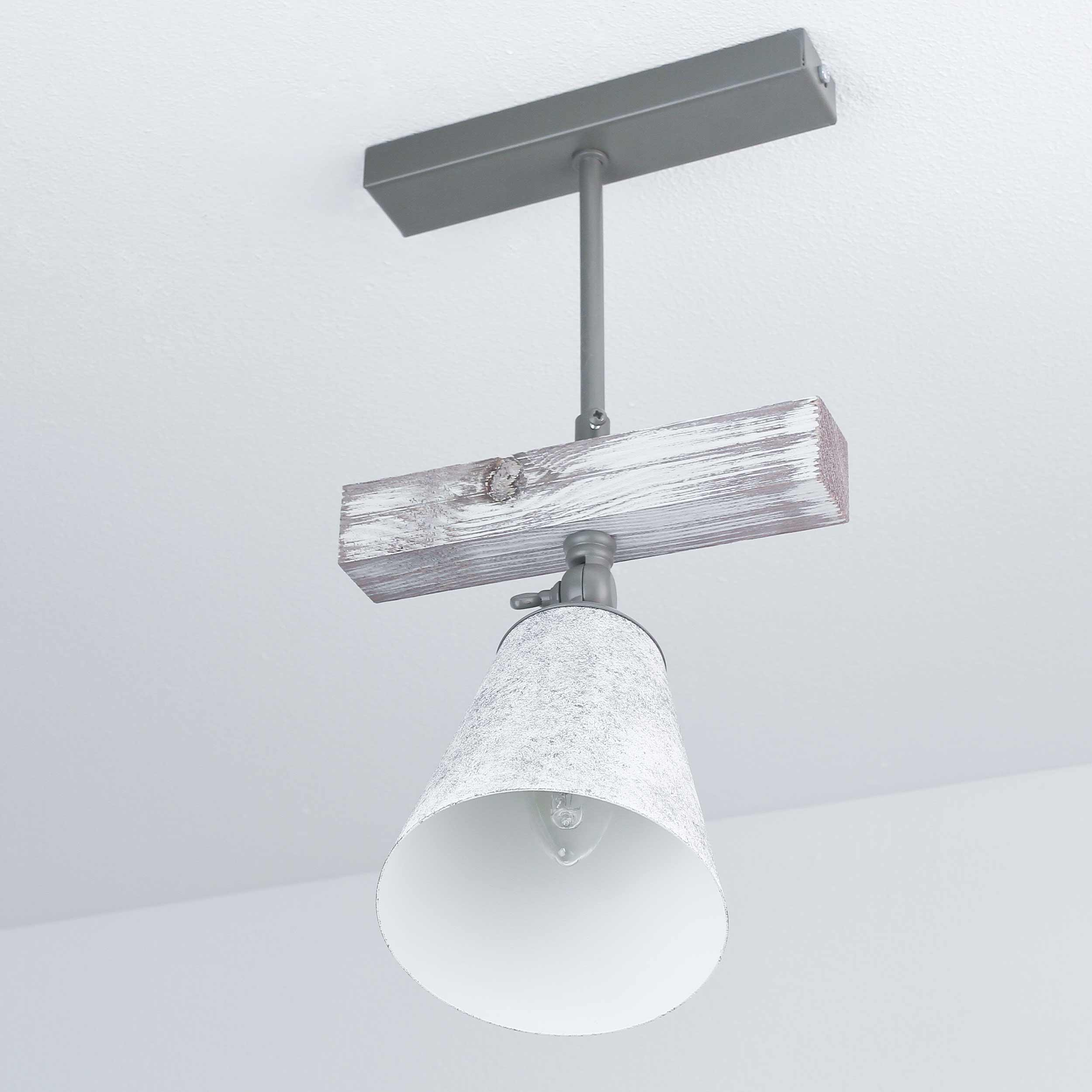 Drehbare Deckenlampe Holz Shabby Weiß Grau E27 AGAP