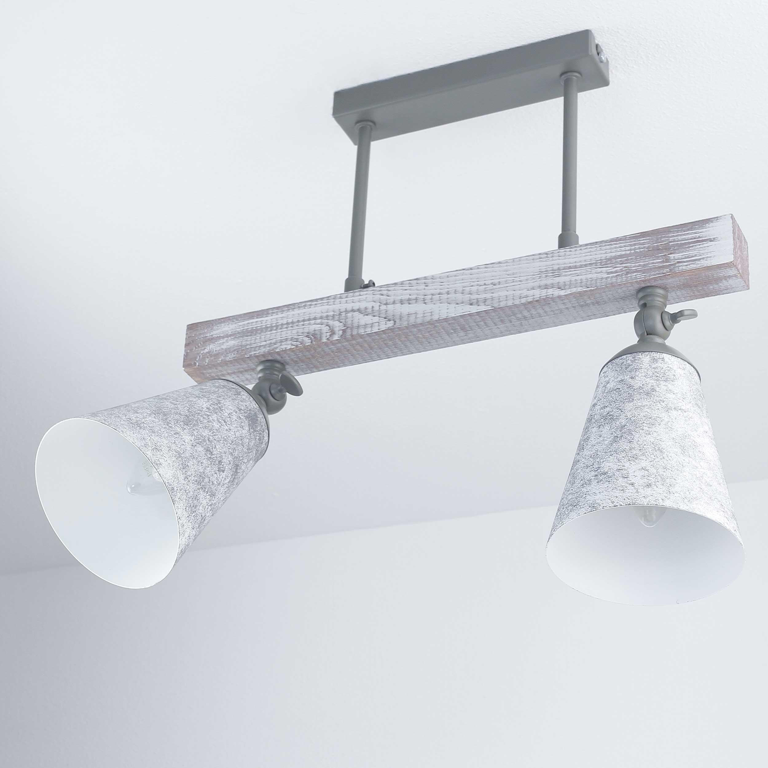 Küche Deckenlampe AGAP Echtholz Shabby Weiß 2xE27