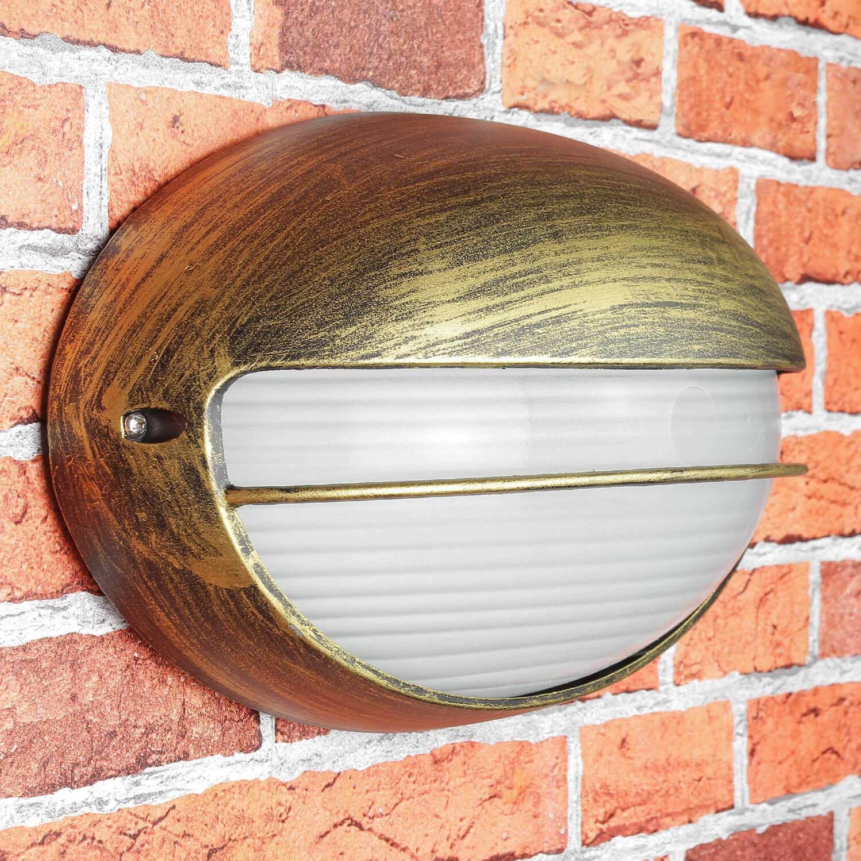 Rustikale Wandlampe Außen AMSTERDAM oval Ziergitter