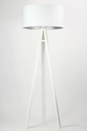 Stehlampe ROSIE Weiß Silber Retro Dreibein 145cm