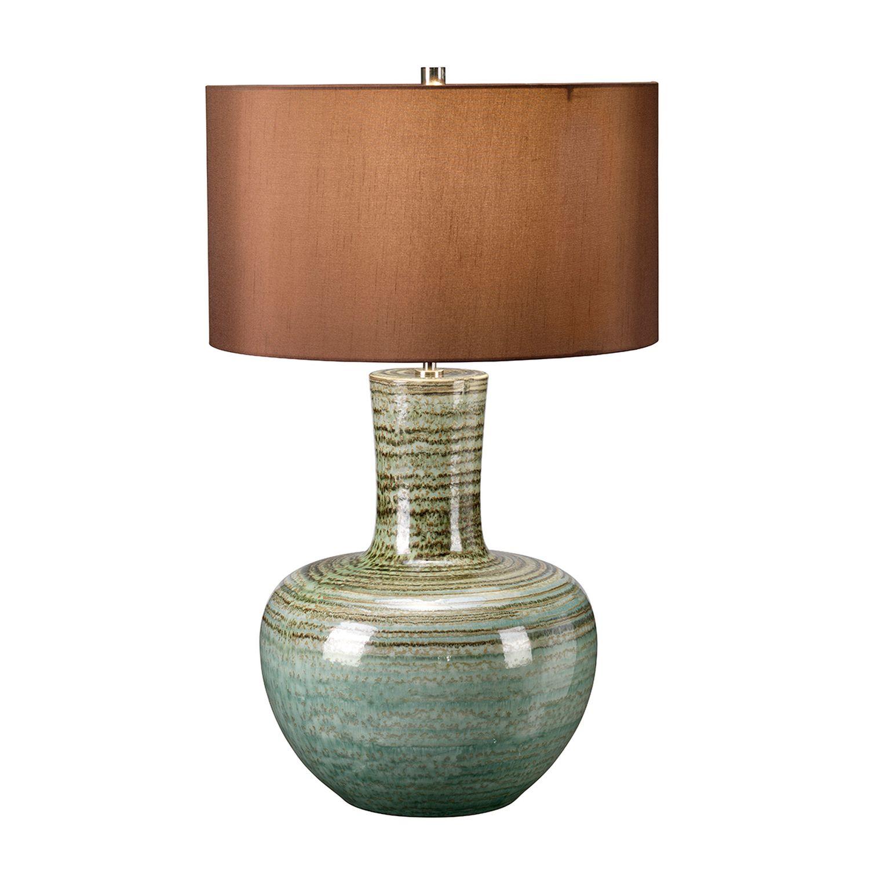 Tischlampe Keramik Stoff in Grün Braun 70cm hoch