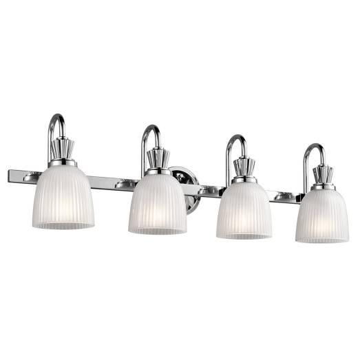 Große Badlampe LED in Chrom Weiß IP44 Riffelglas