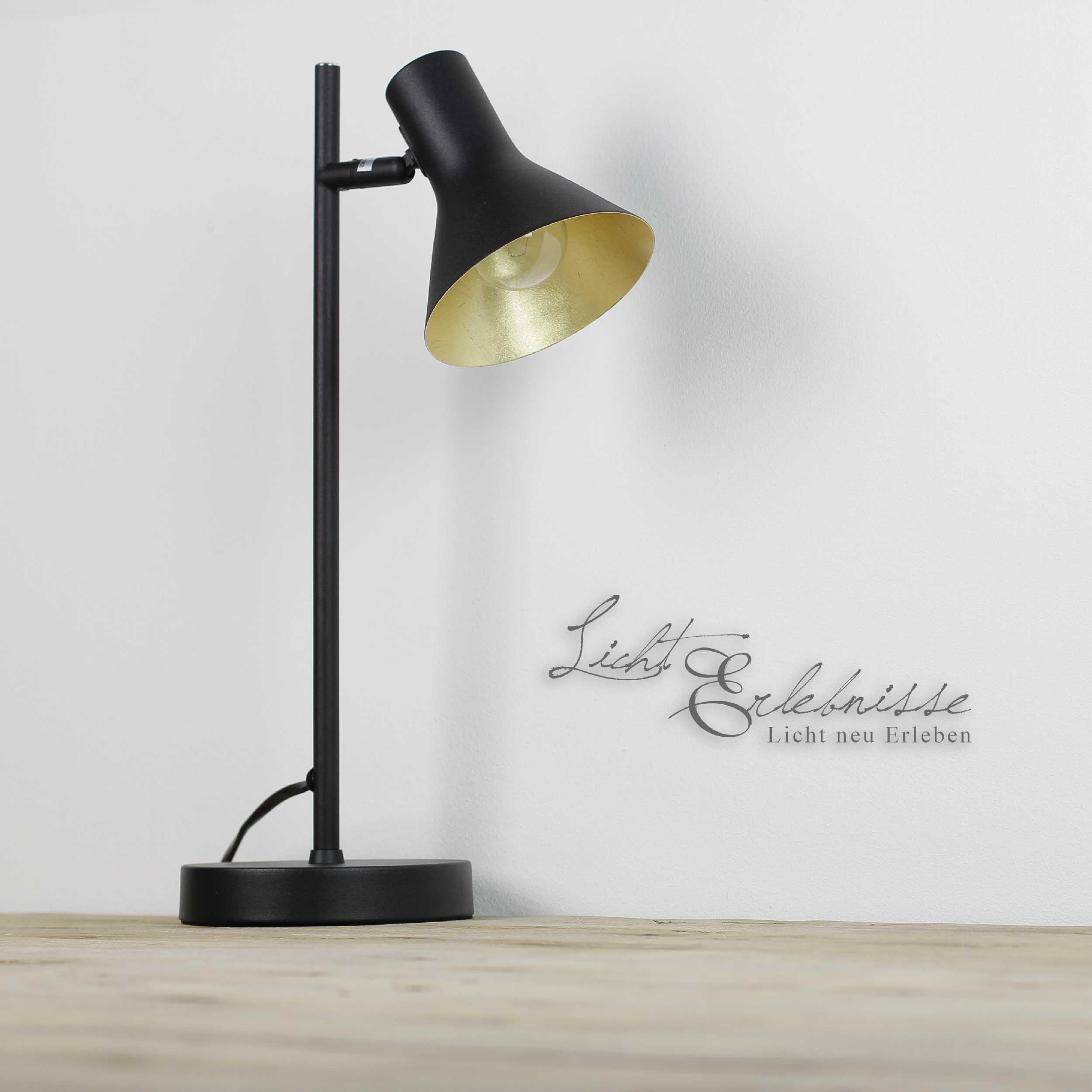 Schwenkbare Retro Tischlampe in Schwarz Gold