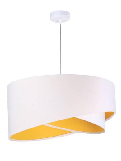 Schirm Pendelleuchte Weiß Gelb rund Ø50cm Esstisch