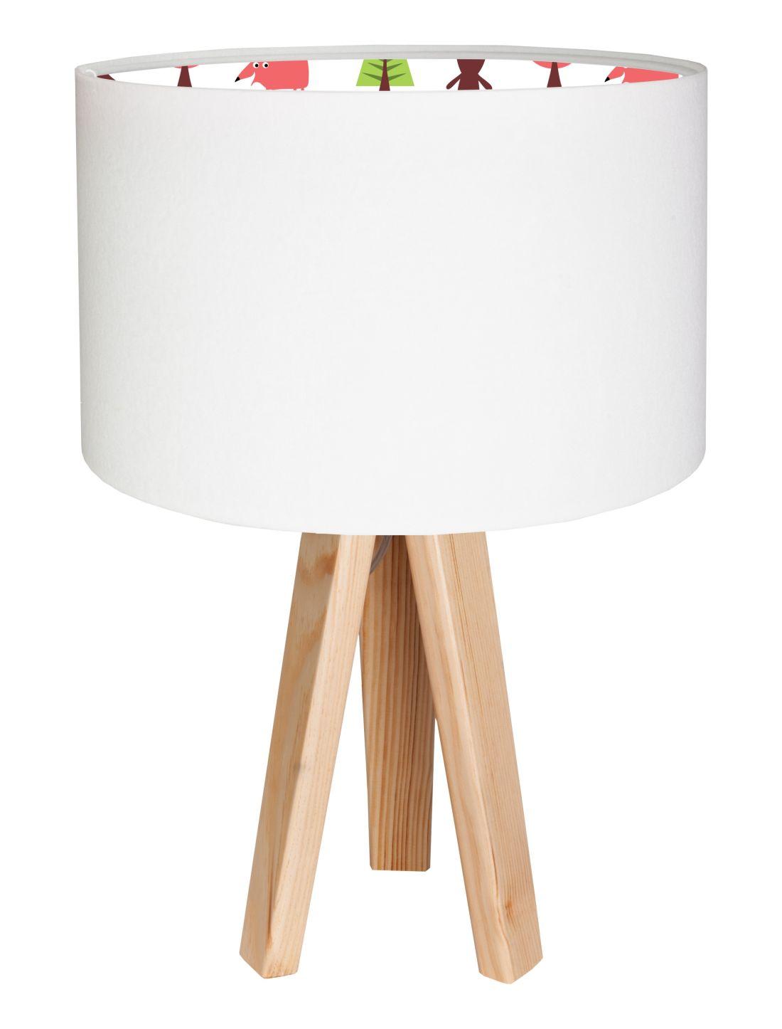 Tischlampe Weiß Bunt Holz Dreibein 46cm Kinder