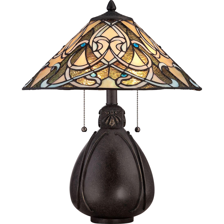 Tischlampe ETERNO 5 Buntglas H:50cm Tiffany Lampe