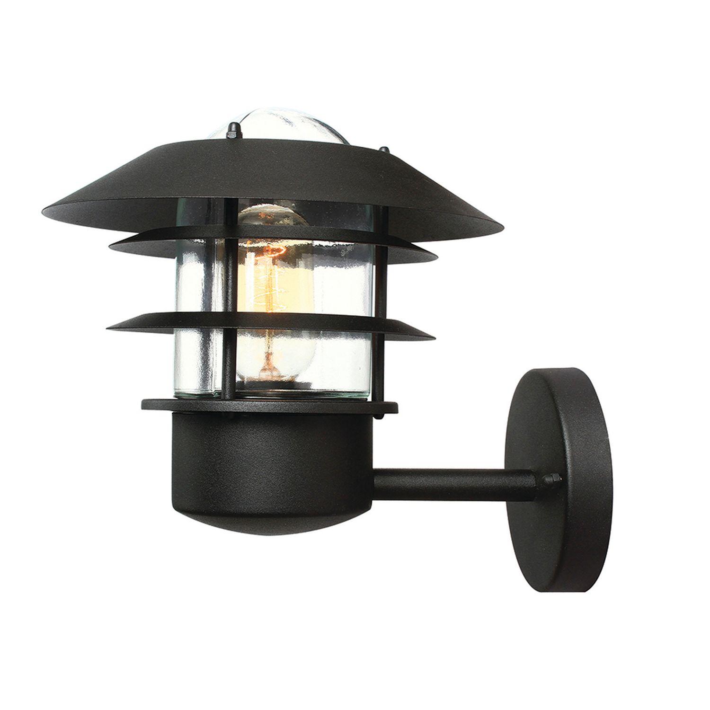 Schwarze Außenlampe Edelstahl maritim IP44 rostfrei