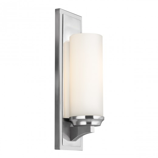 Stilvolle Badlampe LED IP44 Glas Schirm Weiß Chrom
