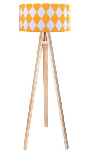 Stehlampe Holz Braun Orange Stoff Dreibein 140cm