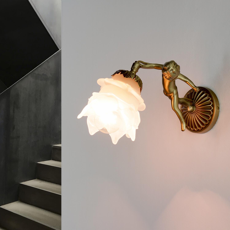 Wandlampe Messing Antik Echt Jugendstil Putti
