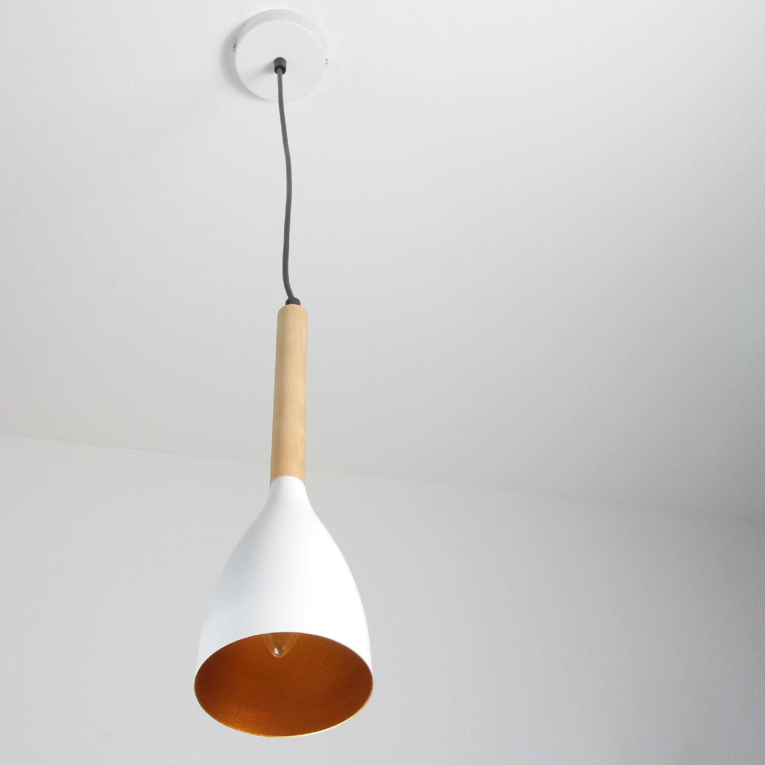 Moderne Pendelleuchte MUZA Weiß Metall Holz Gold