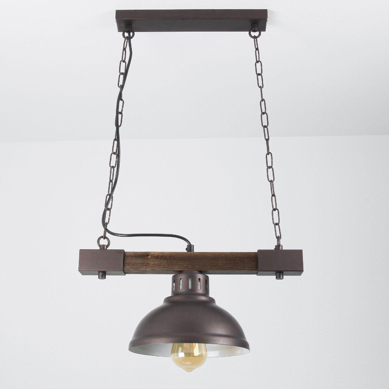 HAKON Lampe hängend Echt Holz Braun Metall Vintage