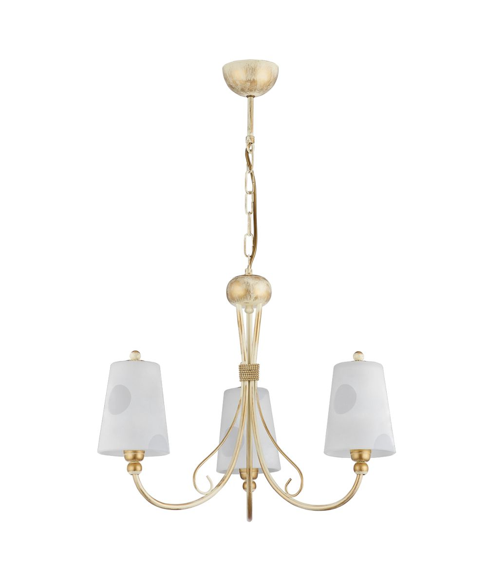 Kronleuchter in Shabby Gold Weiß Glas ENANIA Lampe