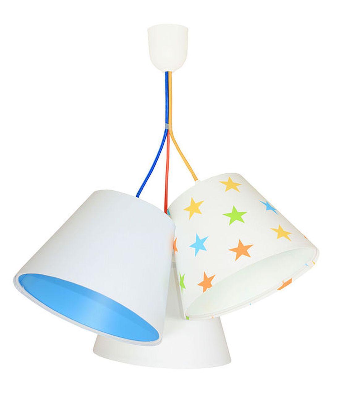 Hängelampe Weiß Blau Sterne Kinder Stoff 3-flmg