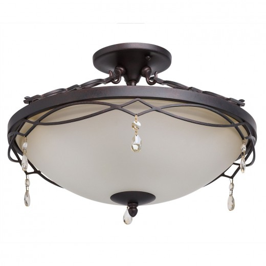 Elegante Deckenlampe LIBERA Creme Braun Rustikal
