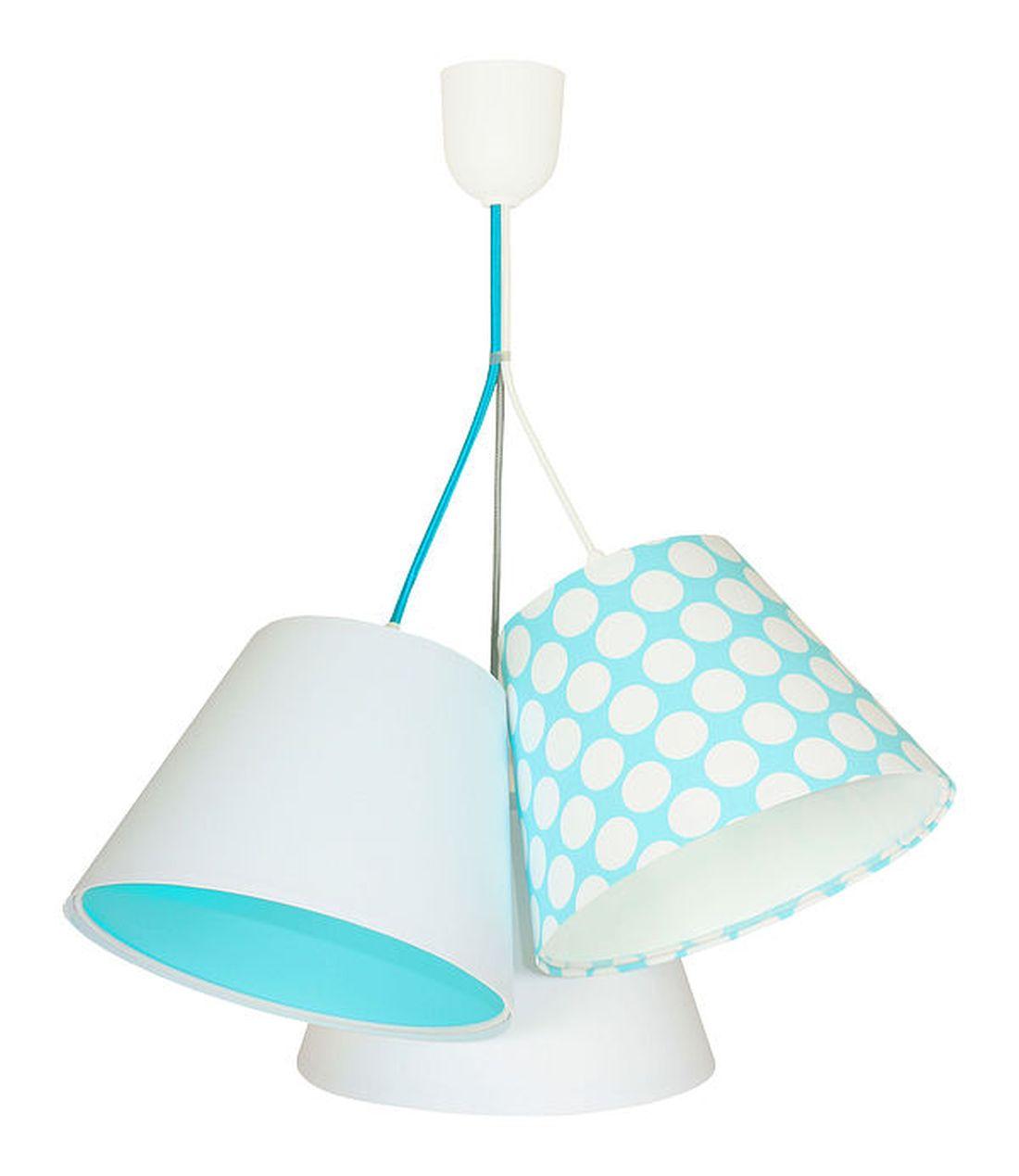 Pendelleuchte Kinderlampe Weiß Blau Stoff