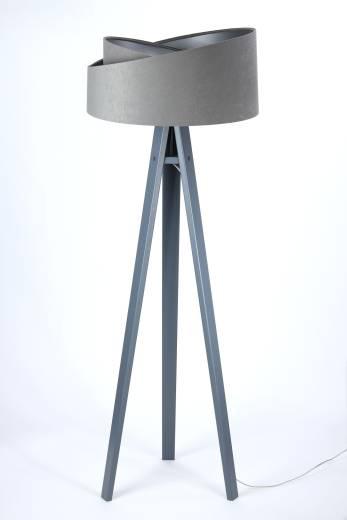 Dreibein Stehlampe EFIE Holz Stoff Grau Silber 145cm
