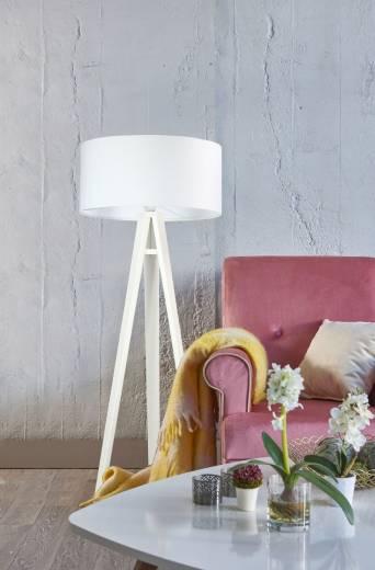 Weiße Stehlampe Holz Dreibein 140cm Retro Wohnzimmer