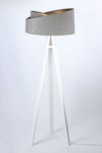 Stehlampe Drei Beine Holz Grau Gold Wohnzimmer