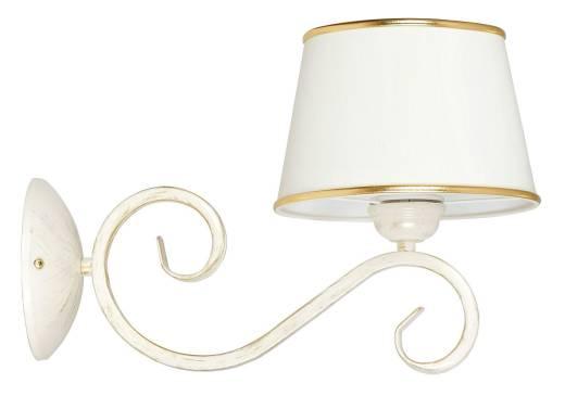 Weiße Wandlampe Stoff Schirm Klassisch Shabby Chic