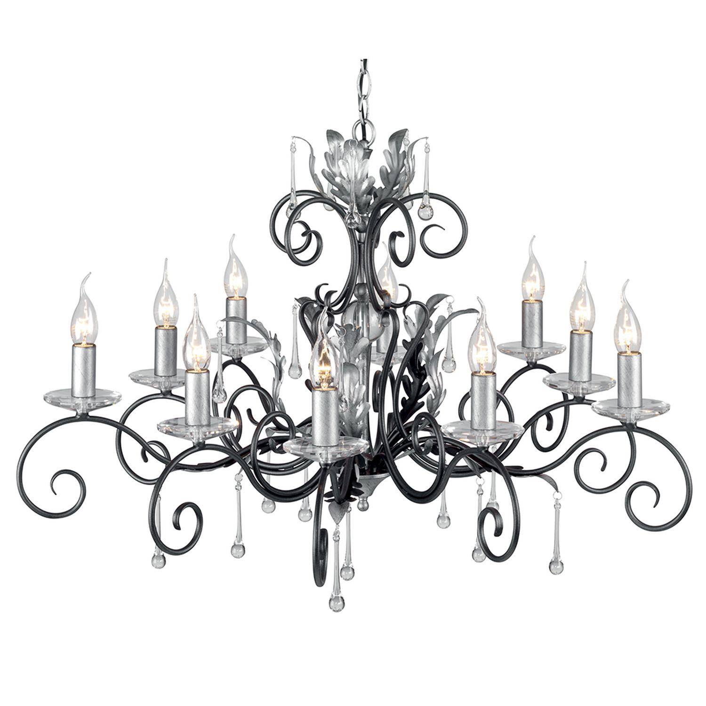 Stilvoller Kronleuchter in Silber Schwarz mit Kristall