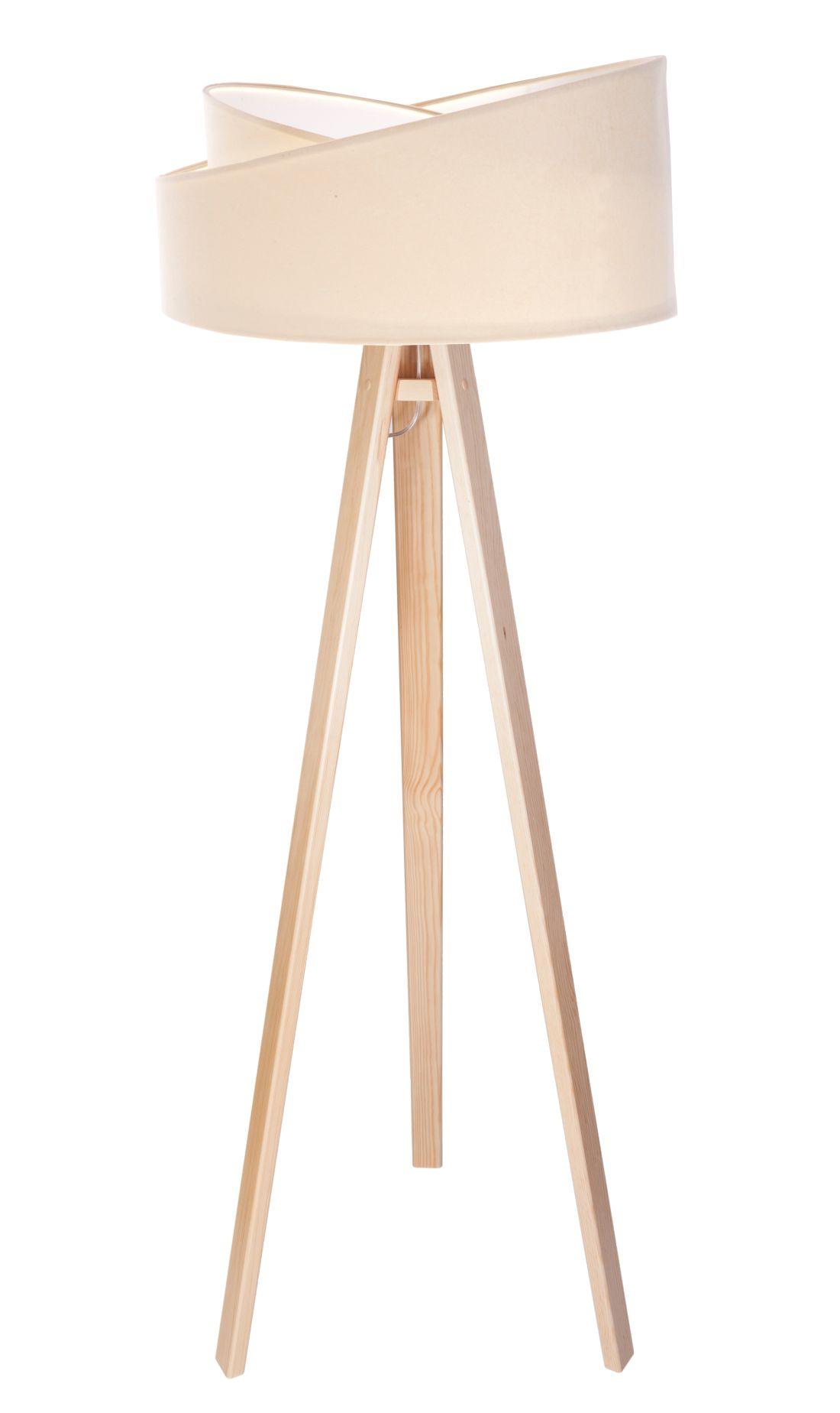 Stehlampe HUNTLEY Creme Weiß Holz 145cm Wohnzimmer