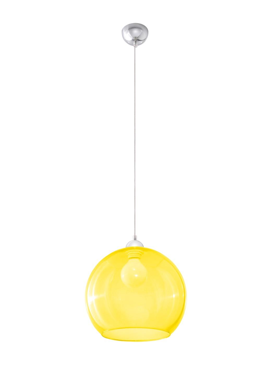 Zeitlose runde Pendelleuchte E27 BILBAO mit Glasschirm in Gelb
