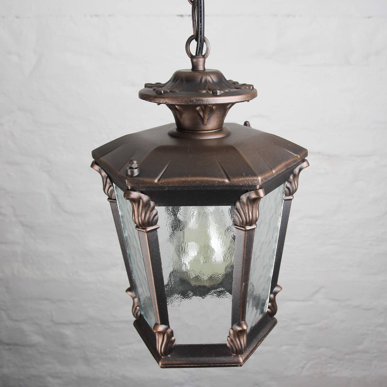 AMUR Pendelleuchte Antik Bronze Ornament Glas E27