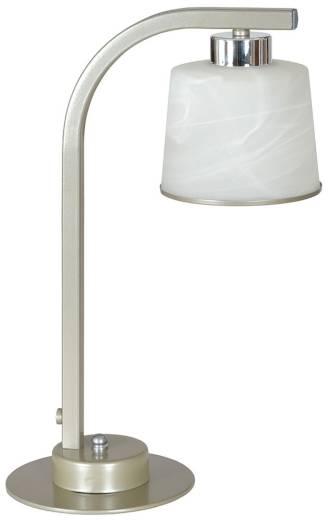 Moderne Tischlampe Metall Glasschirm Weiß 30cm E27