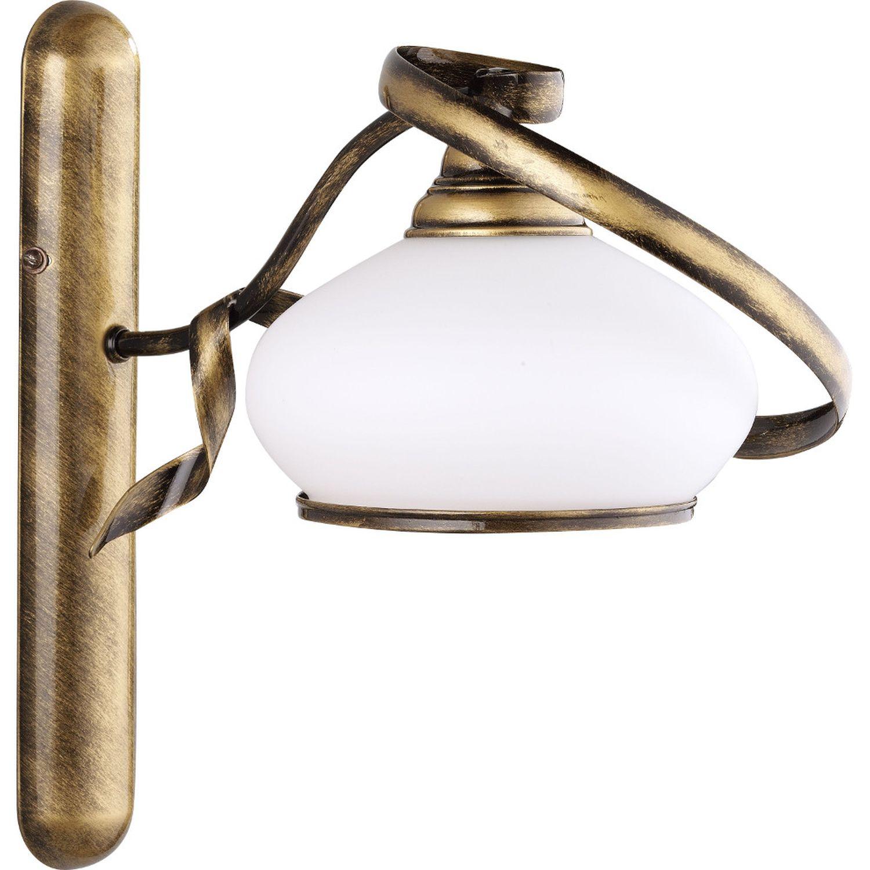Lampe Jugendstil Messing Weiß Wandleuchte Glas