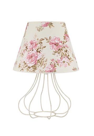 Kleine Tischlampe Stoff Rosenmuster Landhausstil