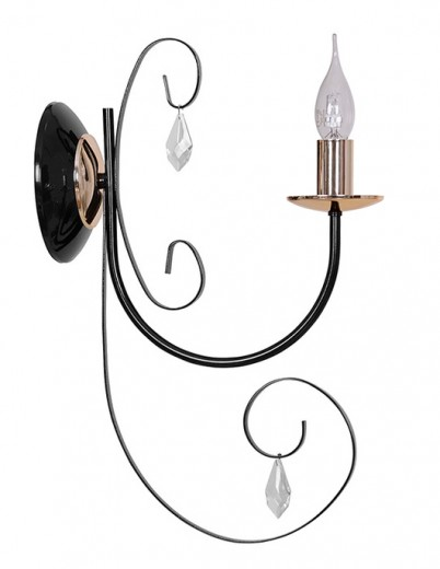 Elegante Wandlampe CHLOE Schwarz Klassisch E14