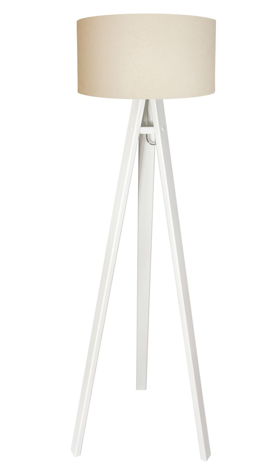 Stehlampe Creme Weiß Holz 10cm2cm Retro Wohnzimmer
