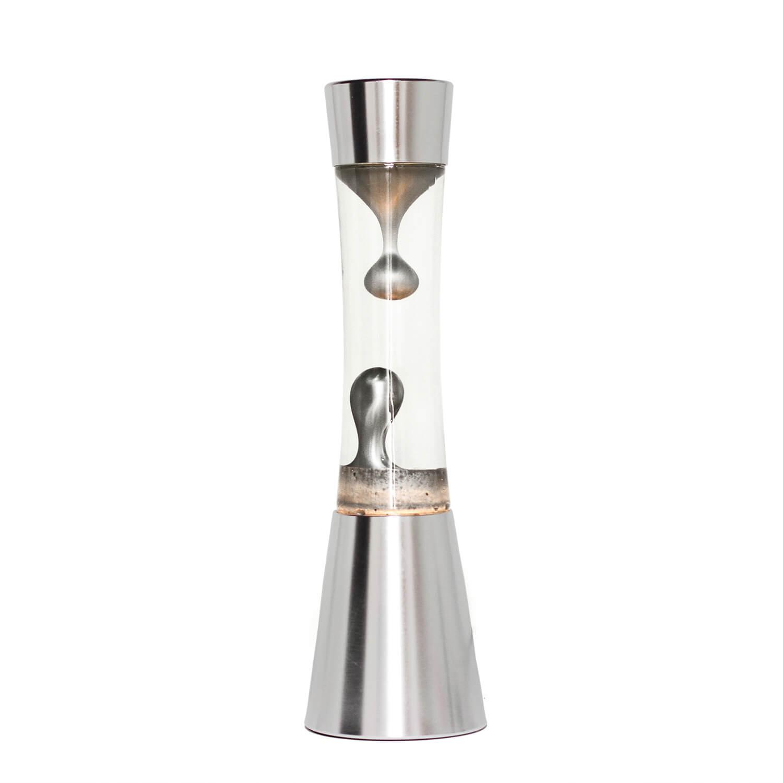 Silberne Lavalampe SANDRO 39cm Retro Tisch elegant