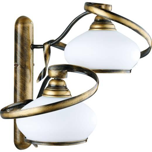 Wandleuchte SALLY Messing Weiß Jugendstil Lampe