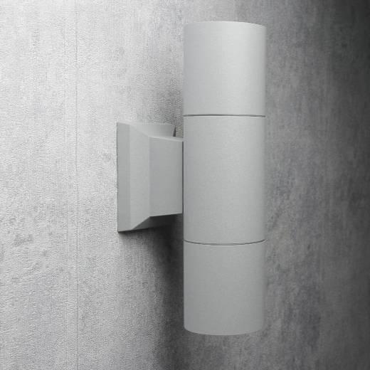 Moderne Up Down Lampe Außen HAMBURG Grau 2xE27 24cm