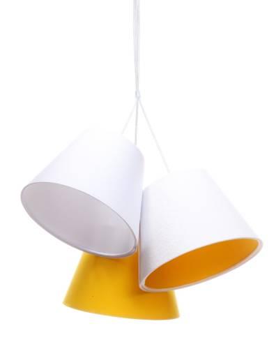 Kinderzimmerlampe SAMY Weiß Orange Stoff Schirm