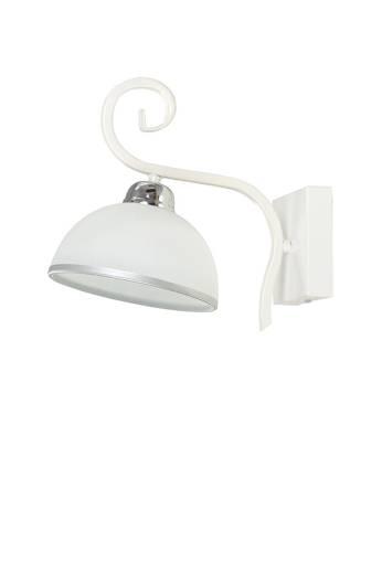 Wandlampe Weiß Metall Glasschirm satiniert E27
