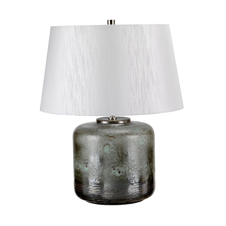 Tischlampe Stoffschirm Porzellan in Silber Klassisch